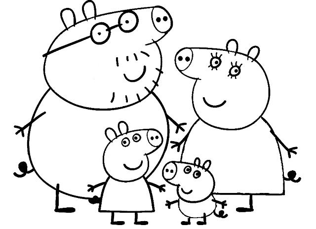 Disegni da colorare la famiglia di peppa pig disegni da for Immagini peppa pig da colorare
