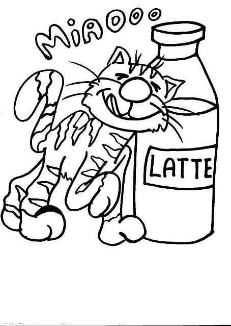 Gatto miaooo con bottiglia di latte disegno da colorare for Immagini gatti da colorare