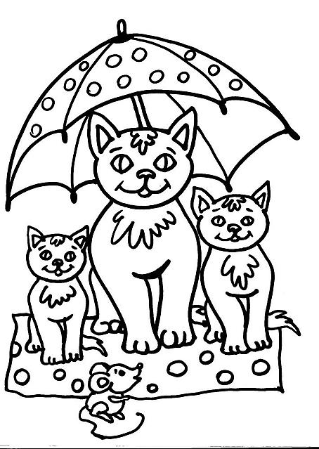Tre gatti sotto la pioggia disegno da colorare disegni da for Immagini gatti da colorare