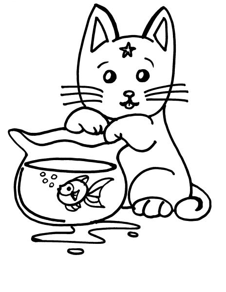 Gatto che gioca con pesciolino rosso disegno da colorare for Immagini di gatti da colorare