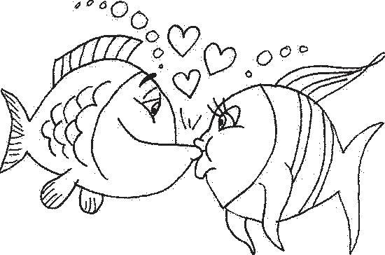 Due pesciolini innamorati da colorare disegni da colorare for Disegni da colorare pesciolini