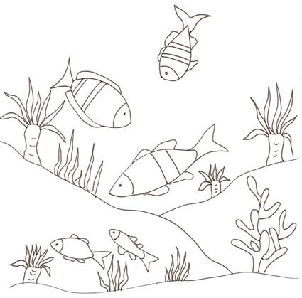 Fondale del mare con pesci da colorare disegni da colorare for Pesciolini da colorare per bambini