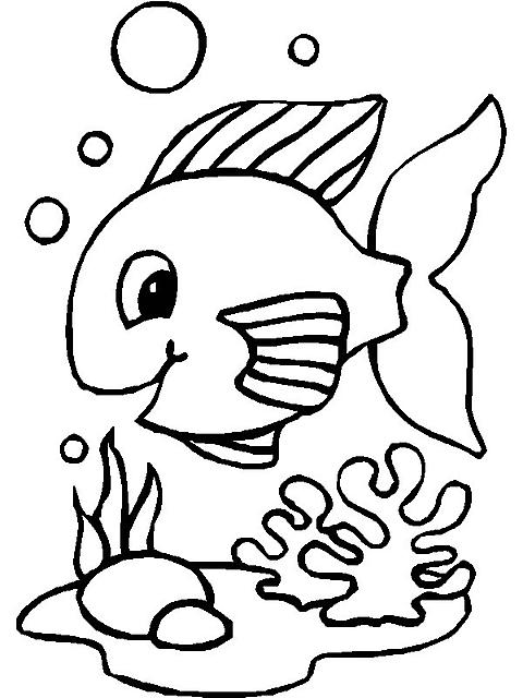 Pesciolino sul fondo marino da colorare disegni da for Pesci da stampare e colorare