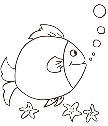 Un pesce tondo con le stelle marine da colorare disegni da for Disegni di pesci da colorare e stampare