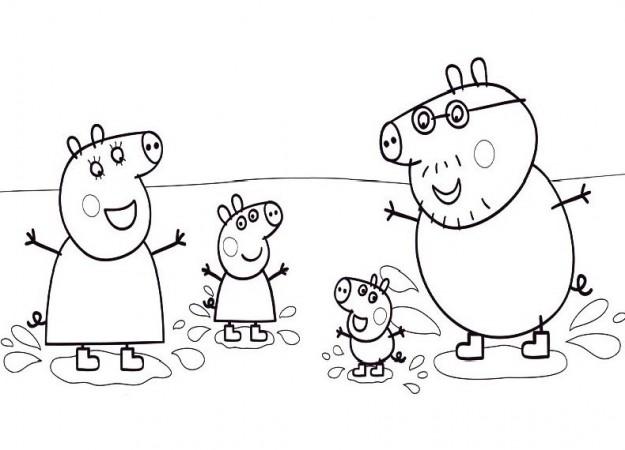 Famiglia 2 disegni da colorare categoria peppa pig for Immagini mare da colorare per bambini