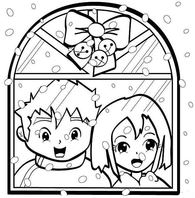 Bambini alla finestra disegno di natale da colorare disegni da colorare categoria natale - Disegno finestra da colorare ...