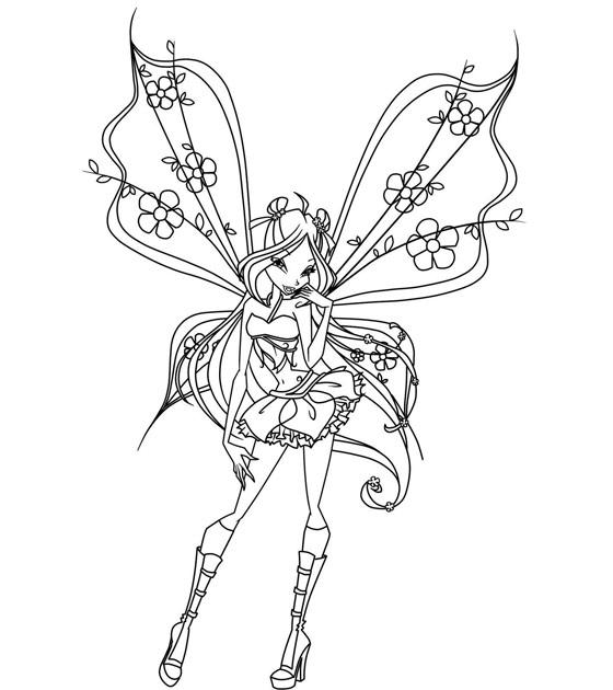 Immagini Da Colorare Winx Flora Con Fiorellini Disegni Da