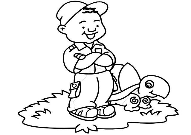 Bimbo E Tartaruga Marina Disegno Disegni Da Colorare Categoria