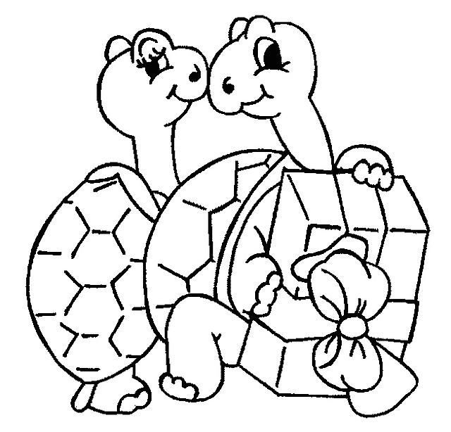 due tartarughe innamorate da colorare disegni da colorare