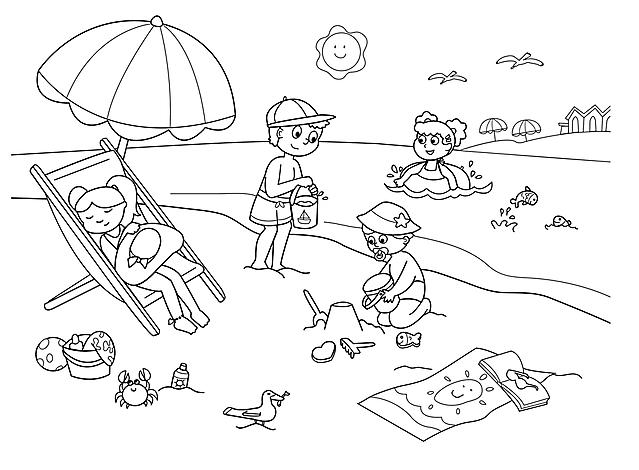 Bambini in spiaggia disegni da colorare disegni da - Immagini da colorare la spiaggia ...