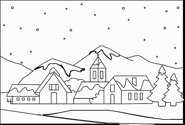 Paesaggio sotto la neve disegni da colorare disegni da for Immagini di casette da colorare