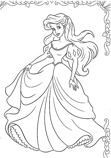 Disegni da colorare la principessa ariel al ballo disegni for Disegni da colorare ariel