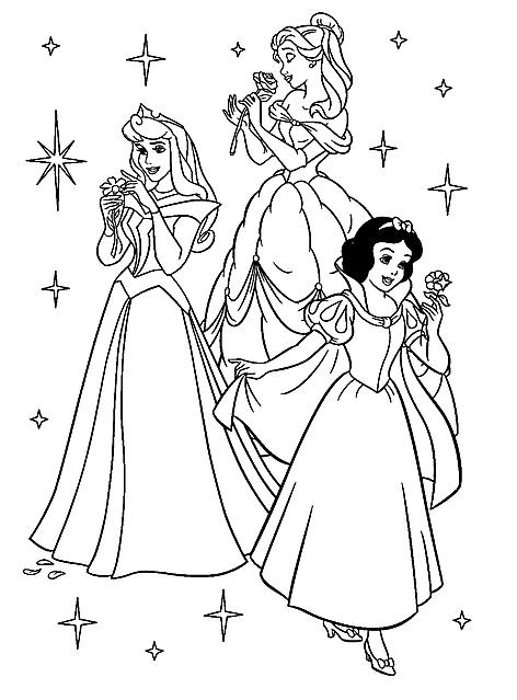 Disegni Da Colorare Le Principesse Disney Con Fiori Disegni Da