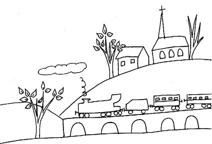 Paesaggio con treno a vapore da colorare disegni da - Immagini del treno per colorare ...