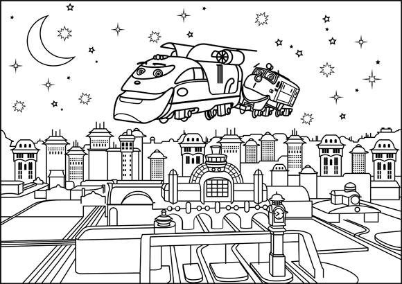 Un treno vola sopra la citta disegni da colorare - Immagini del treno per colorare ...