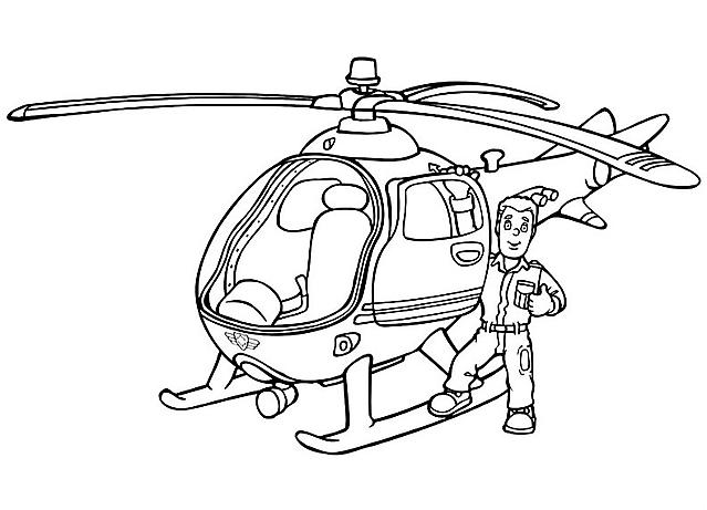 Elicottero Sam Il Pompiere : Elicottero con sam il pompiere da colorare disegni