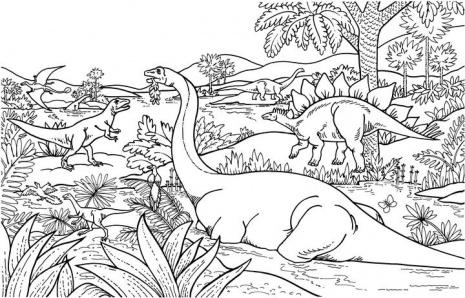 Disegni da colorare dinosauro nella foresta disegni da for Disegni da colorare animali della foresta