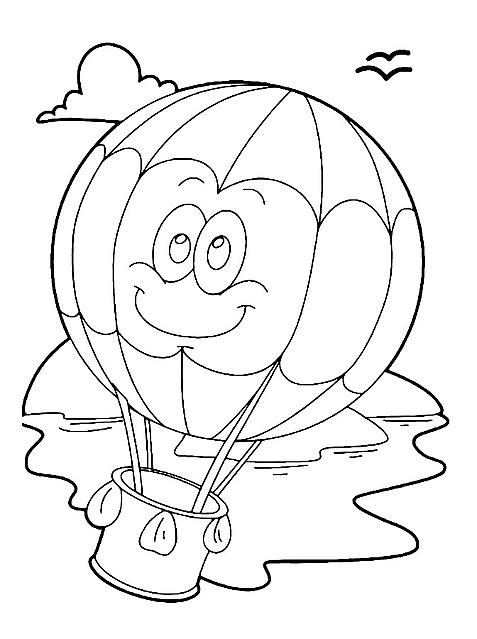 disegni da colorare per bambini mongolfiera simpatica