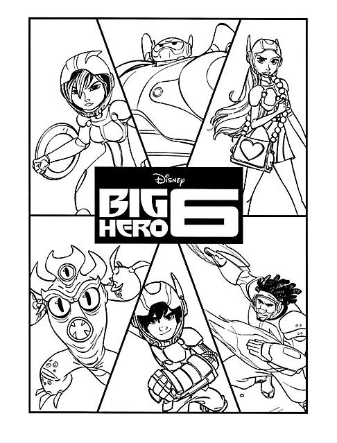 Disegno Da Colorare Per Bambini Con I Personaggi Di Big Hero 6